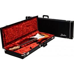 Fender Deluxe Strat/Tele Electric Guitar Case Black, Orange Plush Interior