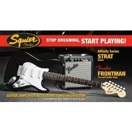 Squier Stop Dreaming Start Playing Set Affinity Strat Black Fender Frontman 10G Amp