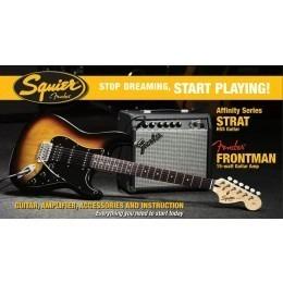 Squier Stop Dreaming Start Playing Set Affinity Strat Brown Sunburst HSS Fender 15G