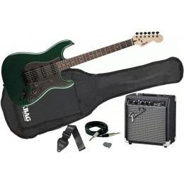 Squier FSR Bullet Strat HSS Green Metallic Fender 10G Pack