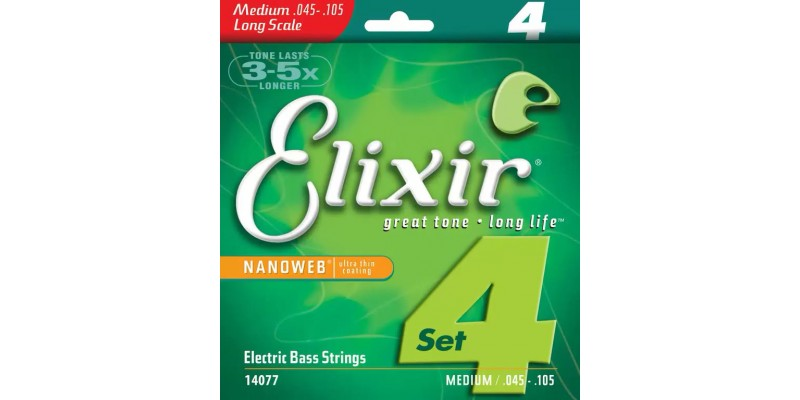 Elixir Nickel Bass 4 String with NANOWEB Coating 45-105