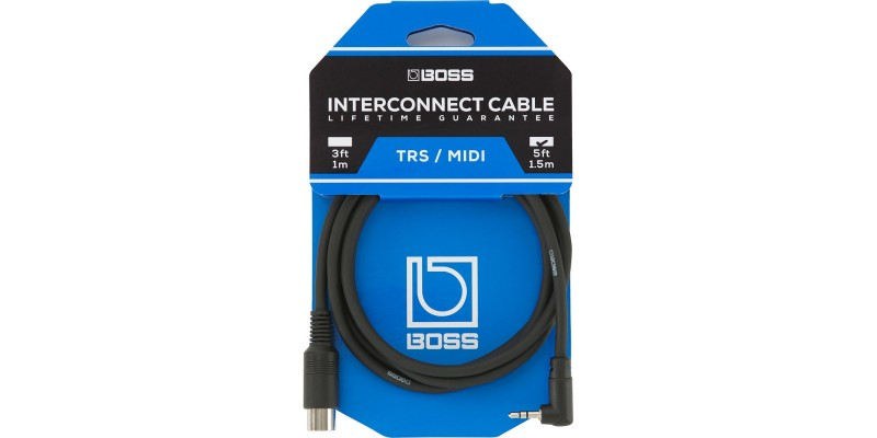 Boss BMIDI-5-35 TRS/MIDI Interconnecter Cable In Packaging