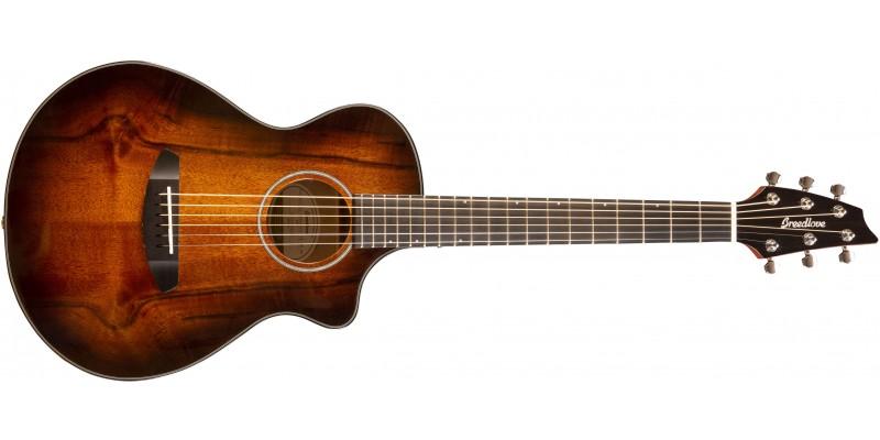Breedlove Pursuit Exotic Companion CE Myrtlewood Bourbon Burst Travel Guitar Front
