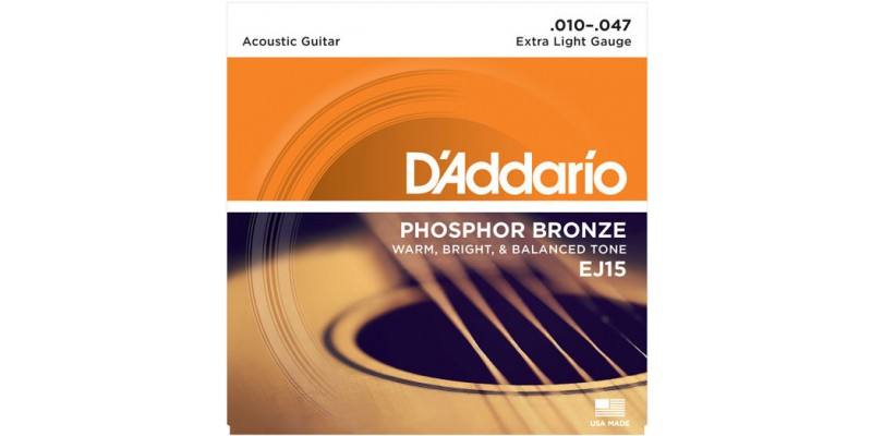 D'Addario EJ15 Phosphor Bronze Extra Light Acoustic Guitar Strings 10-47