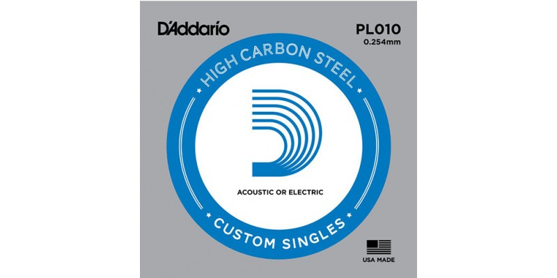 D'Addario PL010 Single Plain Steel String .010