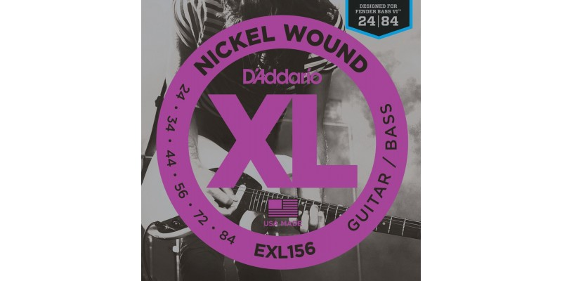 D'Addario EXL156 Nickel Wound, Fender Bass VI, 24-84 Strings