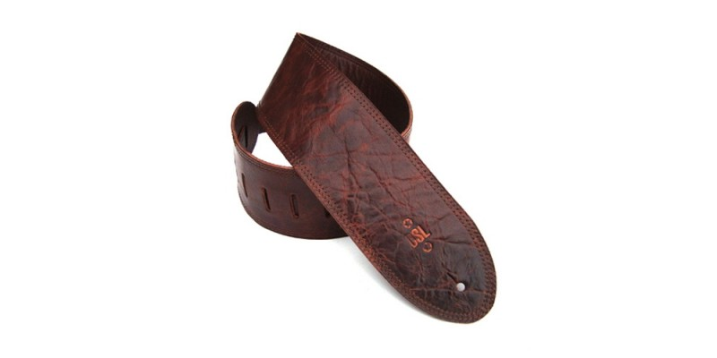 DSL GMD35-Brown Distressed Brown Leather Guitar Strap 3.5""