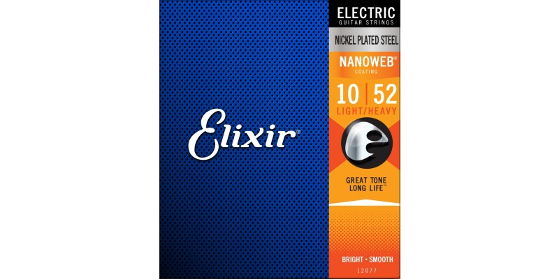 Elixir Nanoweb Electric Guitar Strings 10-52 Light Heavy front