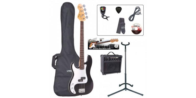 Encore E4 Left Handed Bass Guitar Package Black Main