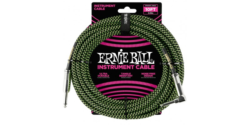 Ernie Ball 10 Foot Braided Straight Angle Instrument Cable Black Green Front