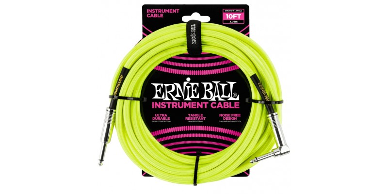 Ernie Ball 10 Foot Braided Straight/Angle Instrument Cable Neon Yellow Front
