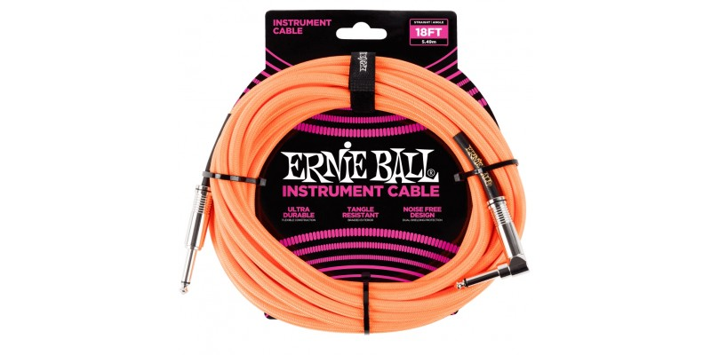 Ernie Ball 18 Foot Braided Straight/Angle Instrument Cable Neon Orange Front