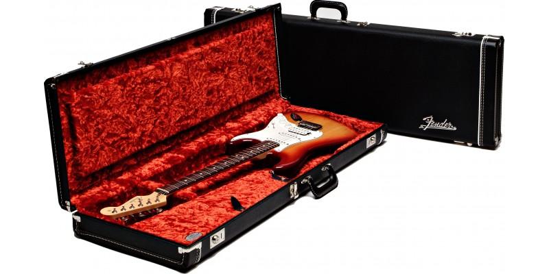 Fender Deluxe Strat Tele Electric Guitar Case Black Orange Plush Interior