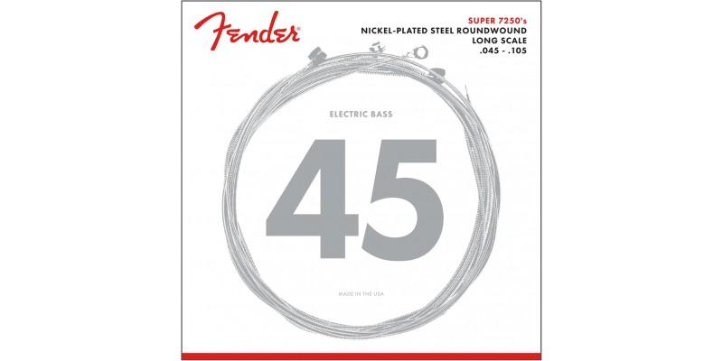Fender 7250M Nickel Plated Steel Bass Strings Medium Long Scale 45-105