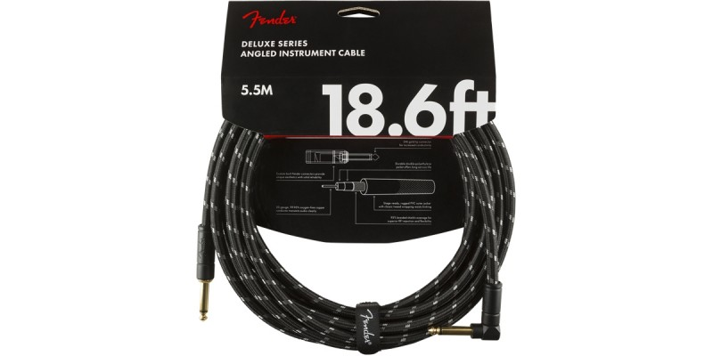 Fender Deluxe Series Instrument Cable Straight Angle 18.6 Foot Black Tweed Front