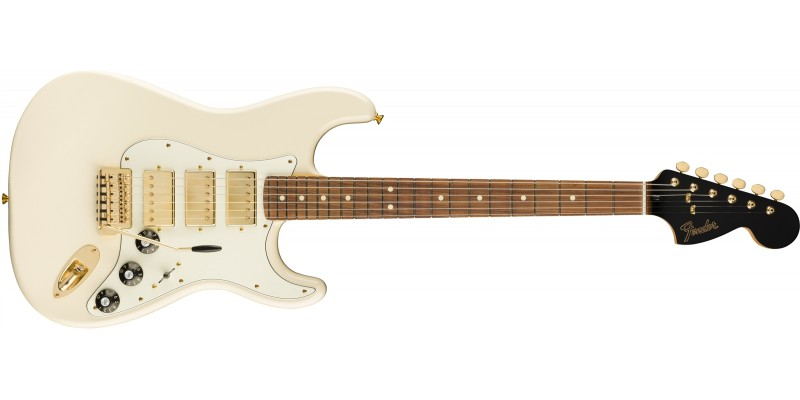 Fender Limited Edition Mahogany Blacktop Stratocaster HHH Olympic White Gold Hardware Front