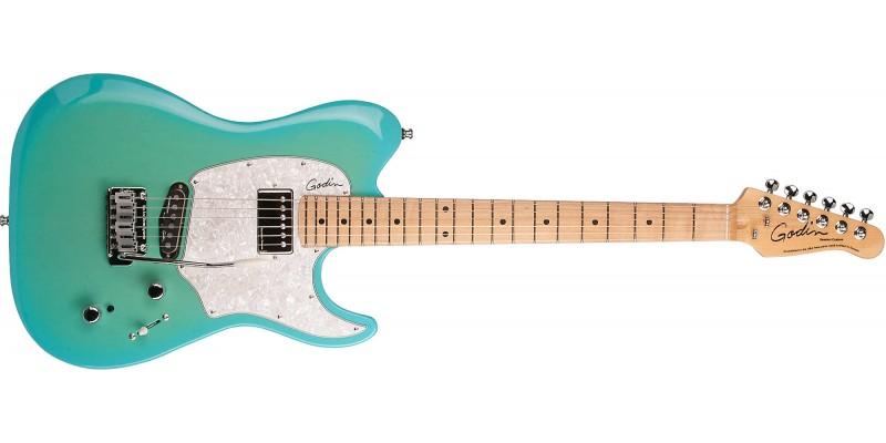 godin session custom 59 coral blue hg maple guitar