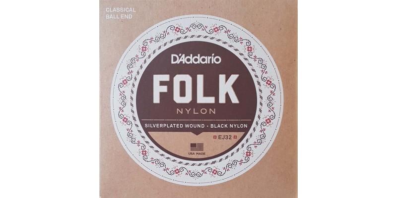 D'Addario EJ32 Folk Nylon, Ball End, Silver Wound/Black Nylon Trebles Front