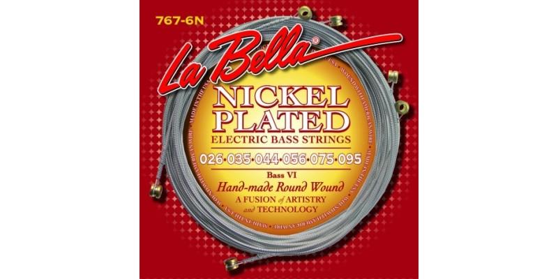 La Bella 767-6N Bass VI Nickel Plated Round Wound 26-95