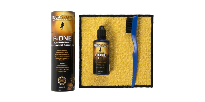 MusicNomad F-ONE Unfinished Fretboard Care Kit Oil Cloth Brush MN125 Main Out of Package