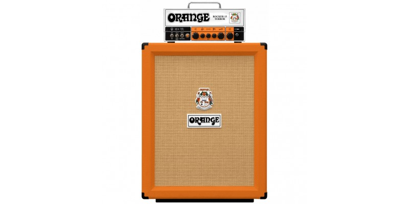 Orange Rocker 15 Terror with PPC212V Cabinet Half Stack Pack Front