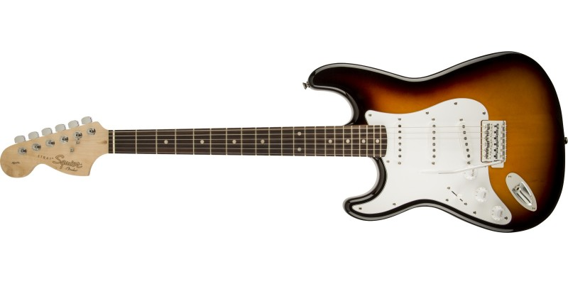 Squier Affinity Strat Left Handed Brown Sunburst Front