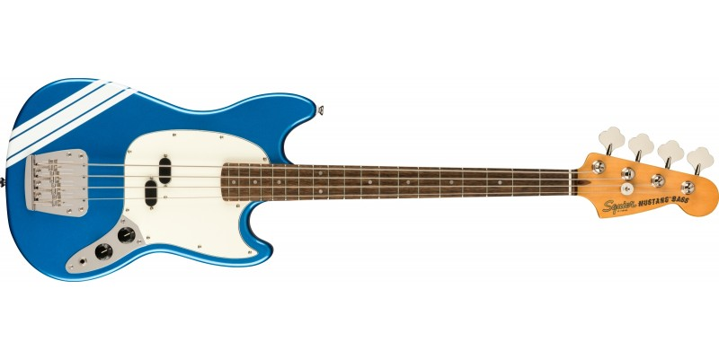 Squier FSR Classic Vibe 60s Competition Mustang Bass Lake Placid Blue With Olympic White Stripes Front