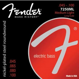 Fender 7250ML Nickel Plated Steel Bass Strings Medium Light Long Scale 45-100
