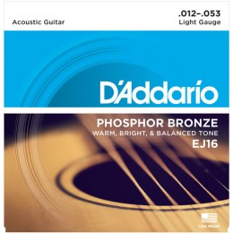 D'Addario EJ16 Phosphor Bronze Light Acoustic Guitar Strings 12-53