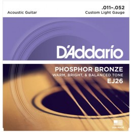 D'Addario EJ26 Phosphor Bronze Custom Light Acoustic Guitar Strings 11-52