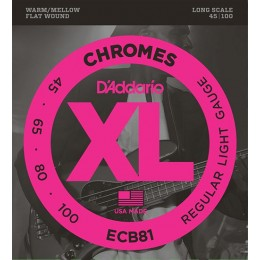 D'Addario ECB81 Chromes Flatwound Bass Strings Light