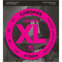 D'Addario ECB81M Chromes Medium Scale Flatwound Bass Strings Light