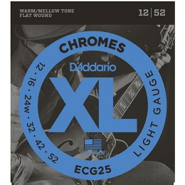 D'Addario ECG25 Chromes Flatwound Guitar Strings Light 12-52