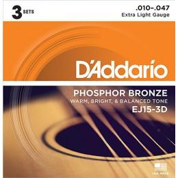 D'Addario EJ15-3D Phosphor Bronze Extra Light Acoustic Guitar Strings