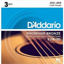 D'Addario EJ16-3D Phosphor Bronze Light Acoustic Guitar Strings