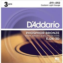 D'Addario EJ26-3D Phosphor Bronze, Custom Light, 11-52 Strings
