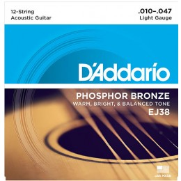 D'Addario EJ38 12-String Phosphor Bronze, Light, 10-47 Strings
