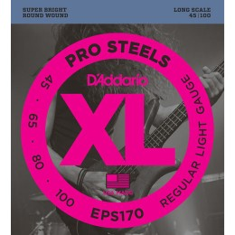D'Addario EPS170 ProSteels Bass, Light, 45-100, Long Scale Strings