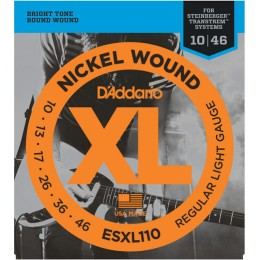 D'Addario ESXL110 NickelWound Regular Light Double Ball End 10-46 Steinberger Strings