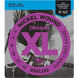 D'Addario ESXL120 Nickel Wound Super Light Double BallEnd 9-42 Steinberger Strings