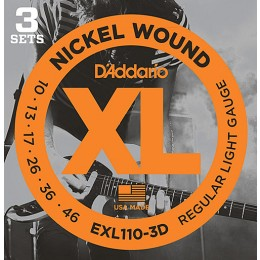 D'Addario EXL110-3D Nickel Wound, Regular Light, 10-46 3-Pack