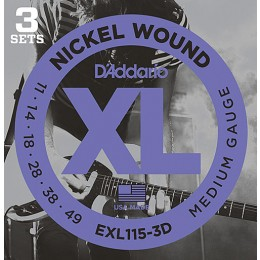 D'Addario EXL115-3D Nickel Wound, Medium/Blues-Jazz Rock, 11-49 3-Pack