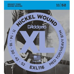 D'Addario EXL116 Nickel Wound, Medium Top/Heavy Bottom, 11-52 Strings