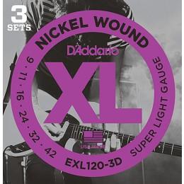 D'Addario EXL120-3D Nickel Wound, Super Light, 9-42 3-Pack