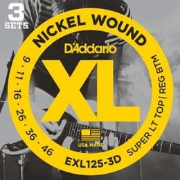 D'Addario EXL125-3D Nickel Wound, Super Light Top/ Regular Bottom 3 Pack