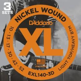 D'Addario EXL140-3D Nickel Wound 10-52 3 Pack