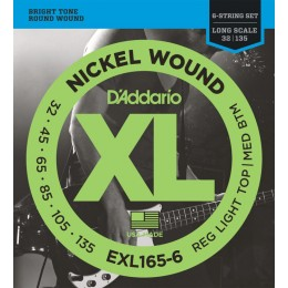 D'Addario EXL165-6 Nickel Wound 6-String Bass, Long Scale