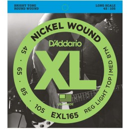 D'Addario EXL165 Nickel Wound Bass, Custom Light, 45-105, Long Scale