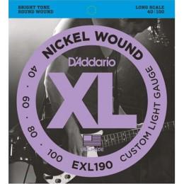 D'Addario EXL190 Nickel Wound Bass, Custom Light, 40-100, Long Scale