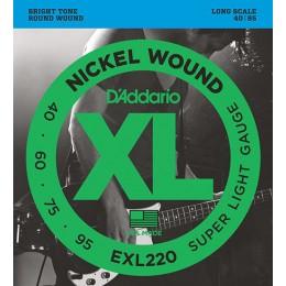 D'Addario EXL220 Nickel Wound Bass, Super Light, 40-95, Long Scale